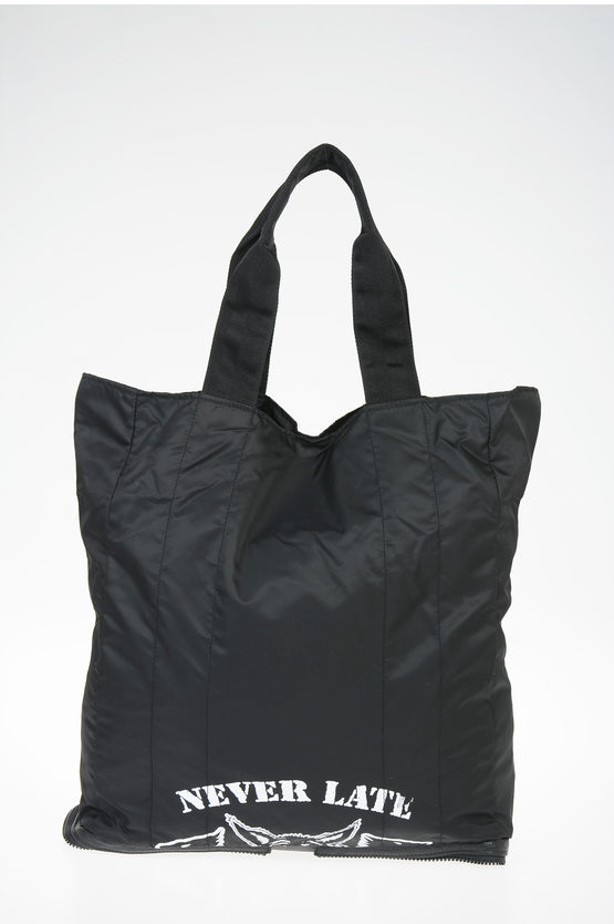 MM11 Leather and Nylon Shopping Bag