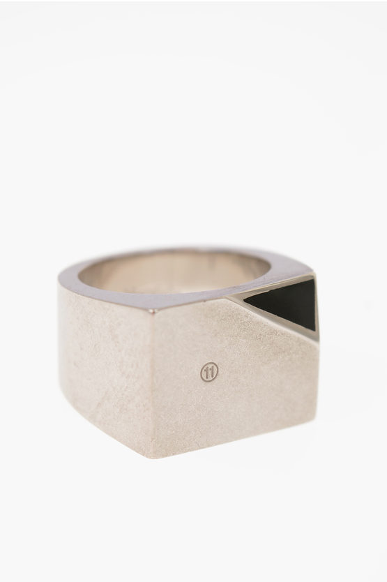 MM11 Silver ring with geometric faceteed