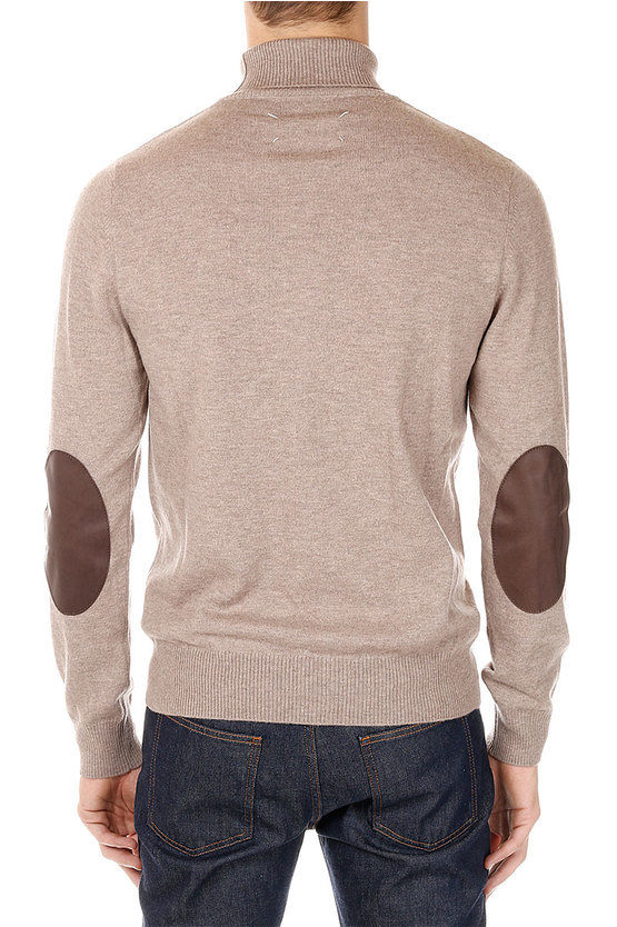 MM14 Turtle Neck Sweater with leather Patches