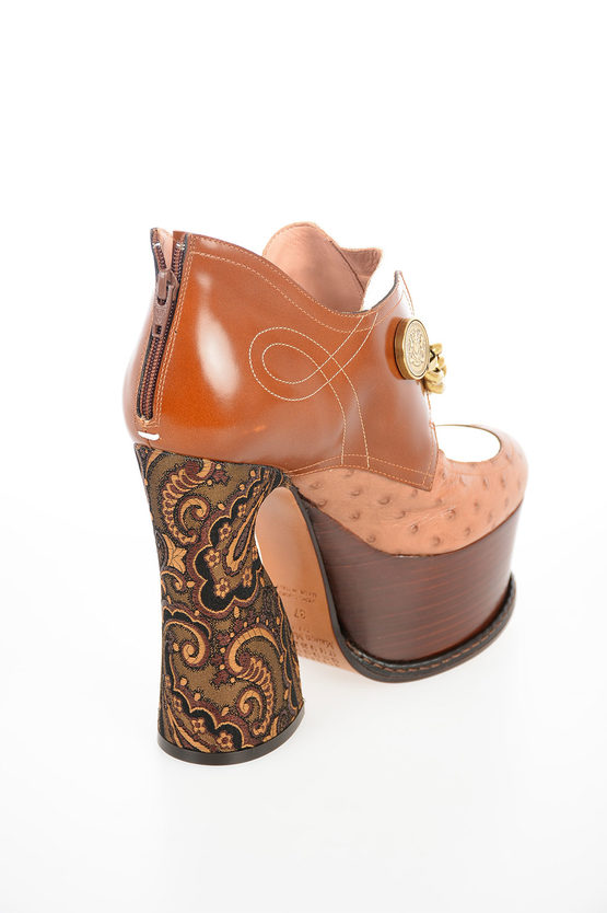 MM22 14cm Ankle Boots with Embroidered Heel