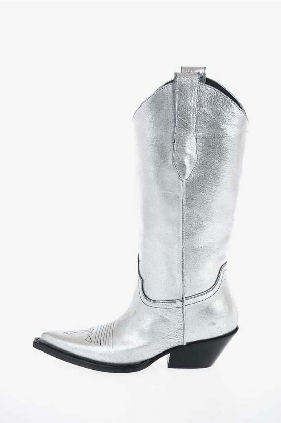 MM22 5cm Laminate Leather Boots
