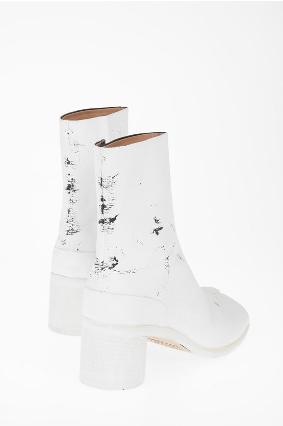 MM22 7cm Leather Vintage Effect TABI Ankle Boot