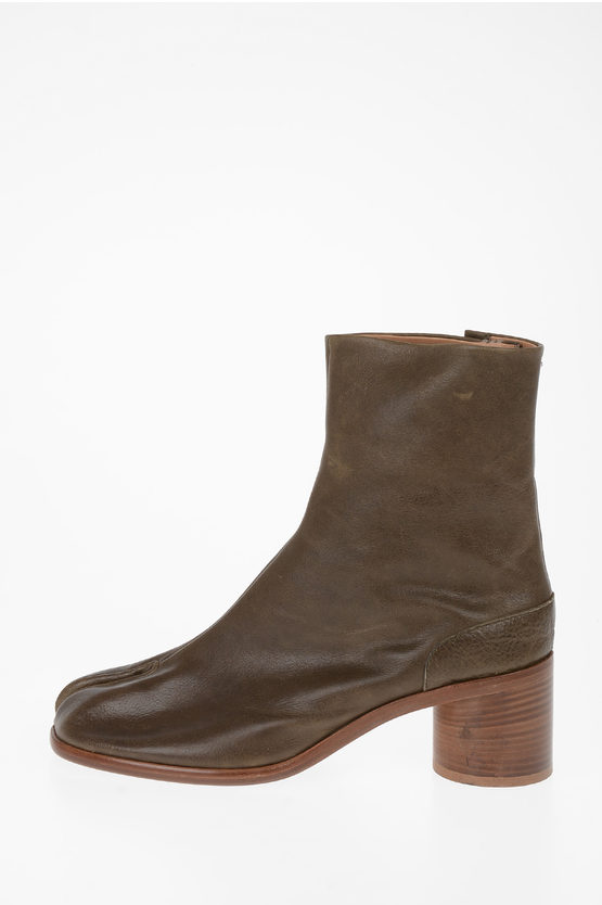 MM22 8cm Leather TABI Ankle Boots