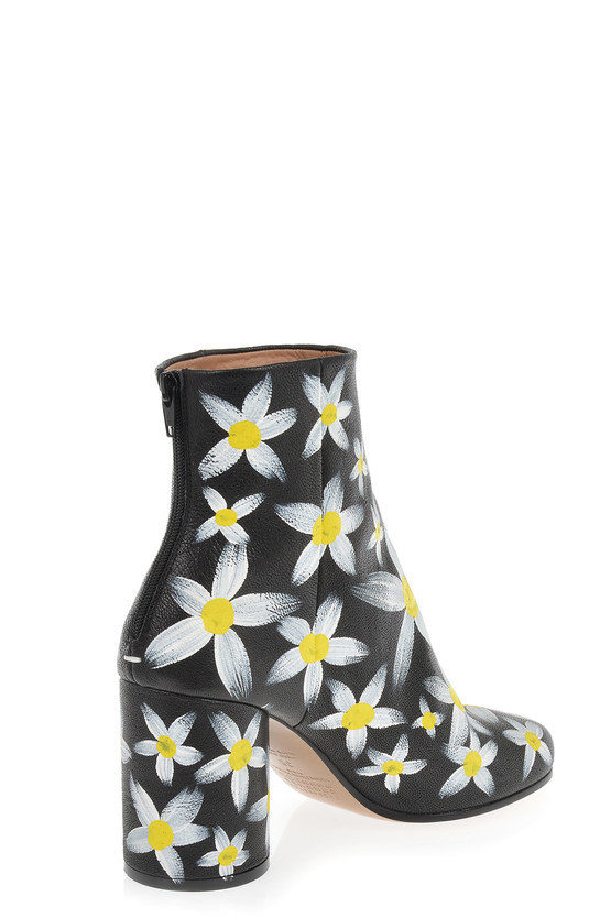 MM22 Hand-Painted Leather Heel Ankle Boots
