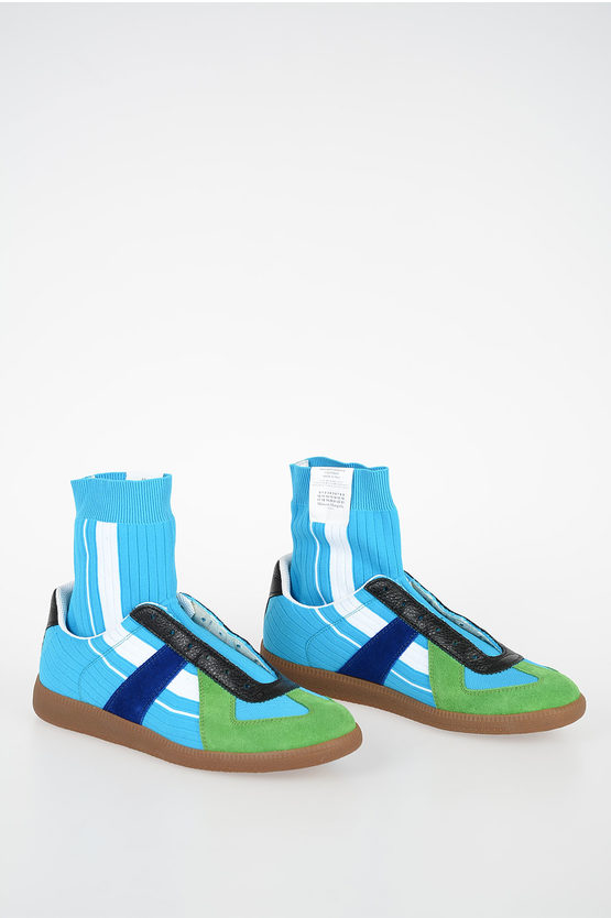 MM22 Nylon and Leather Sneakers