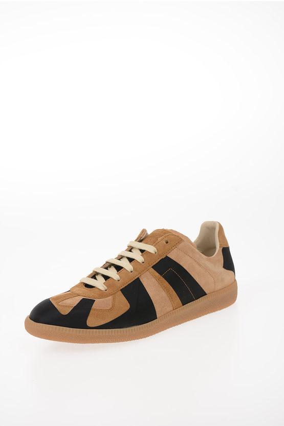 MM22 REPLICA Buffed Calfskin and Suede Low-Top Sneakers