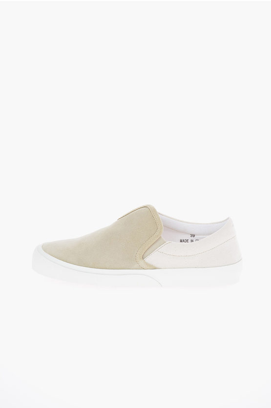 MM22 Suede Leather Two-Tone Slip On Sneakers