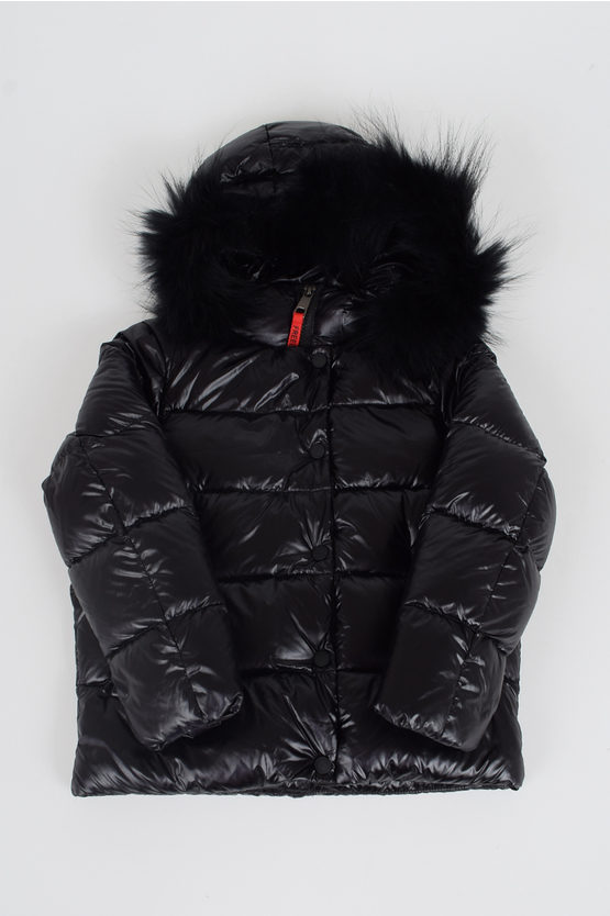 Nylon Padded down Jacket with Real Fur