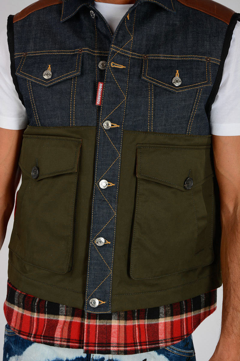 Dsquared2 Padded Denim Sleeveless Jacket Men Glamood Outlet