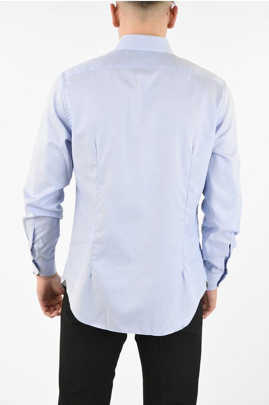 pin point spread collar shirt