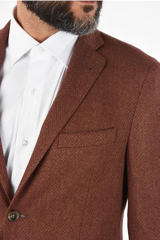 plain herringbone silk and cashmere GATE drop 7R blazer