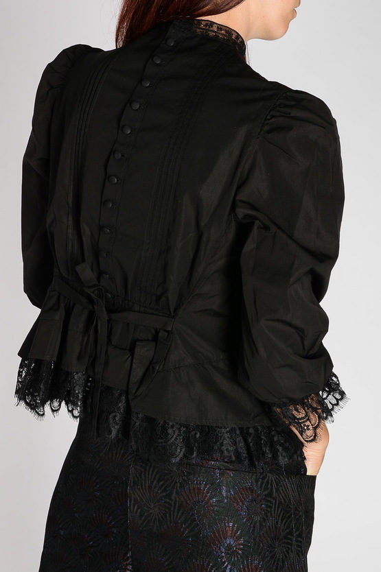 Pleated Cotton Blouse with Lace Details