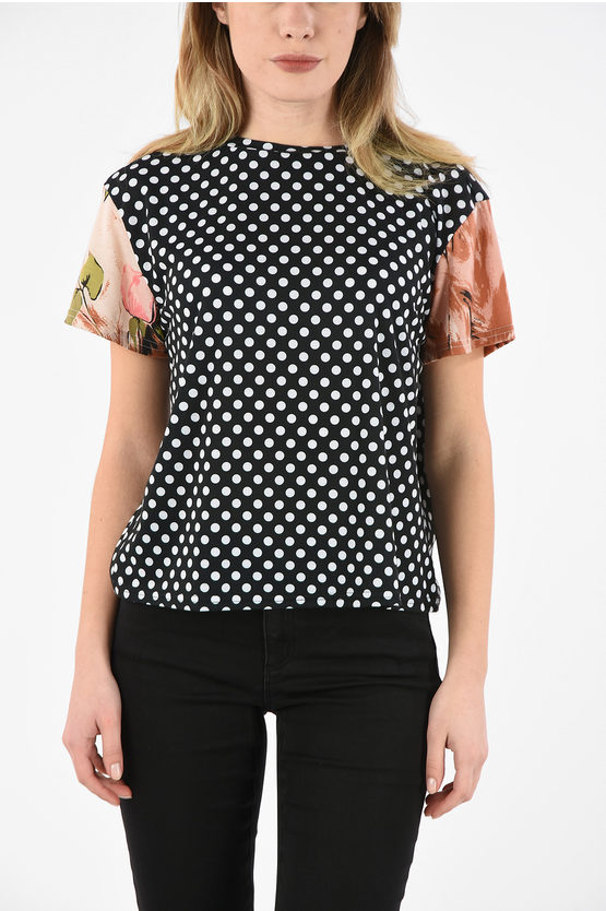 Polka Dot Crew-Neck T-Shirt with Floral Details