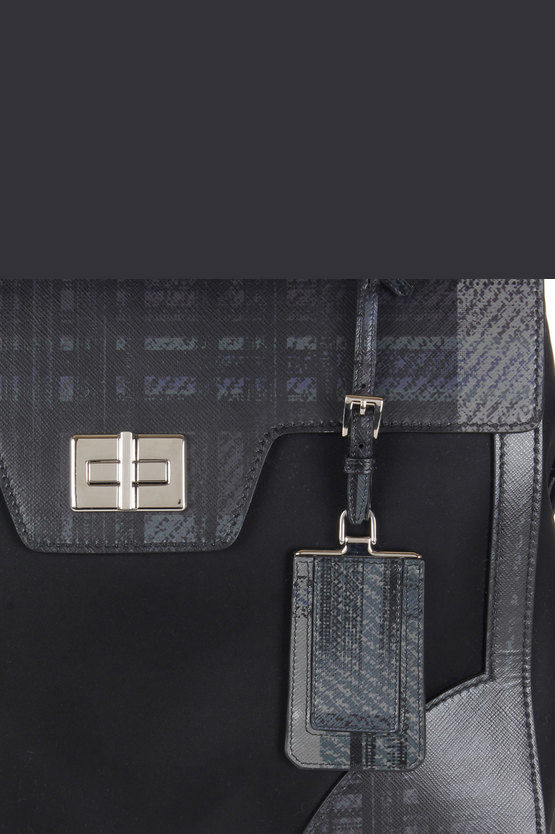 Printed Leather and Fabric Hand Bag
