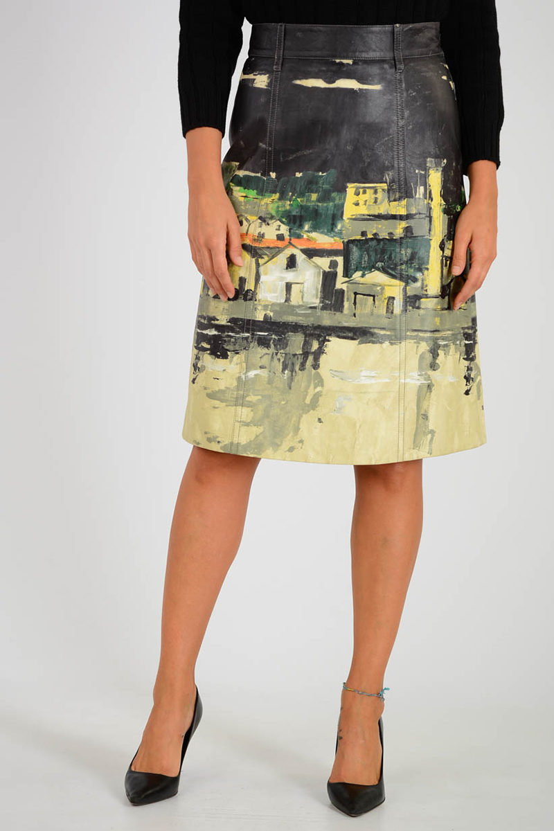 b5739fe55f46 Prada Printed Leather Skirt women - Glamood Outlet