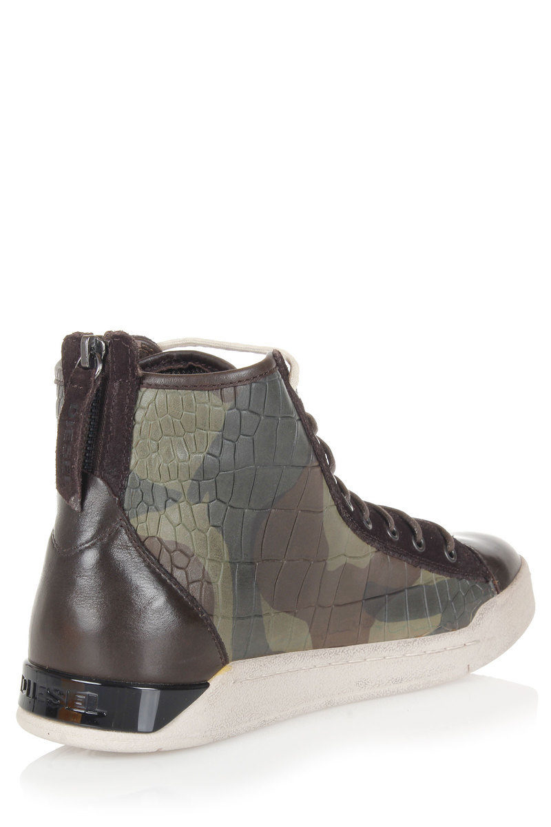 5ed8239f4280a Diesel Printed Leather TEMPUS DIAMOND High Sneakers men - Glamood Outlet