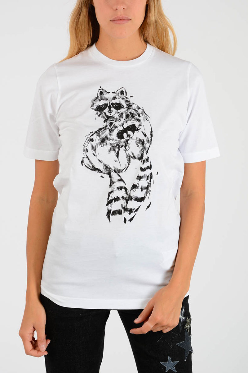 Glamood Dsquared2 Printed Outlet Women Raccoon T Shirt q4LA5Rjc3