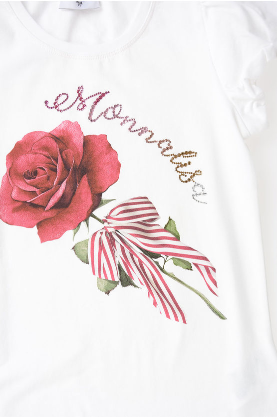 Printed Rose and Strass T-shirt