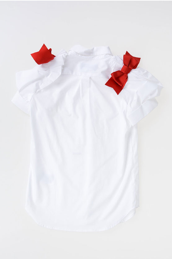 Puff Sleeves Blouse and Red Bow