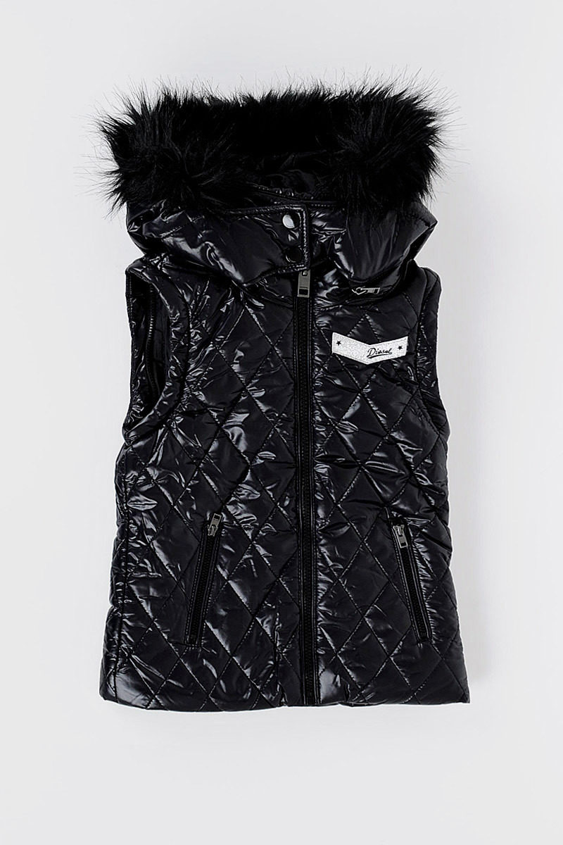 395ad3730 Diesel Kids Quilted JODI Jacket with Faux Fur girls - Glamood Outlet