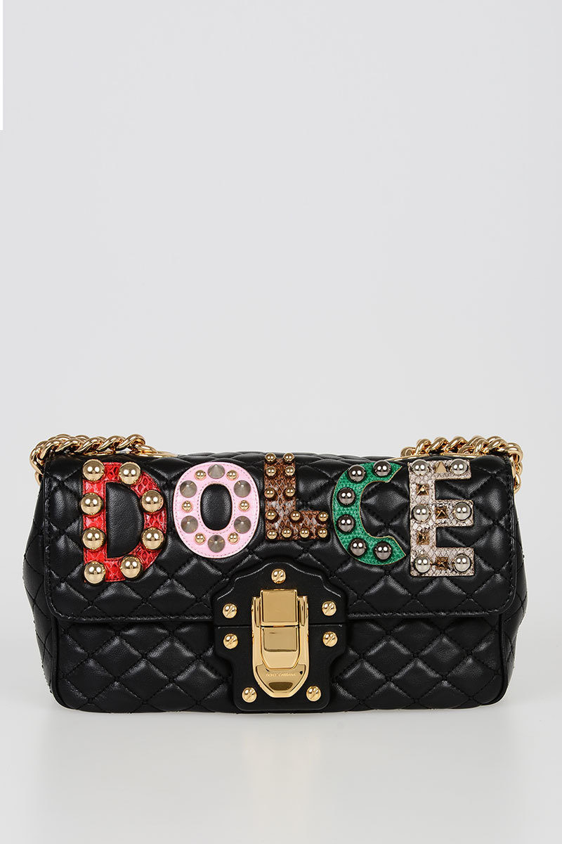 943d8ba335 Dolce   Gabbana Quilted Leather LUCIA Shoulder Bag with Studs women ...