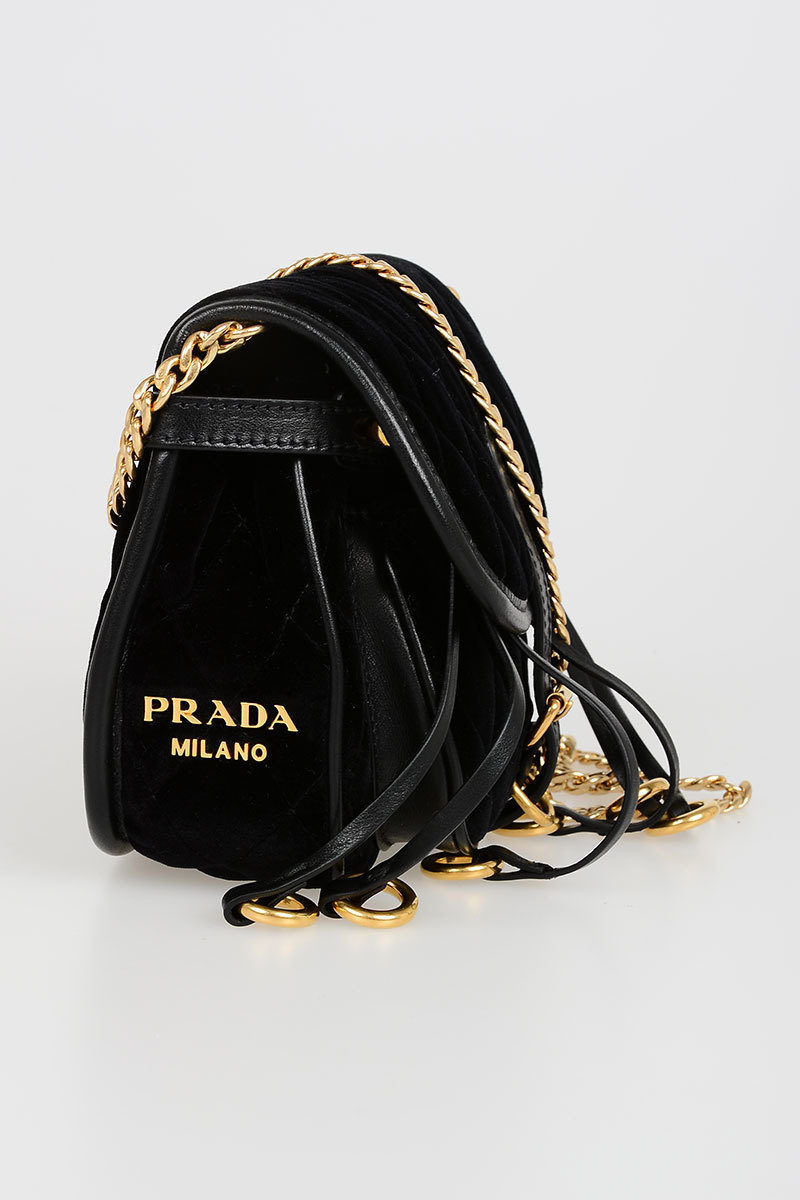 9b77dbf2f15a Prada Quilted Velvet Shoulder Bag women - Glamood Outlet