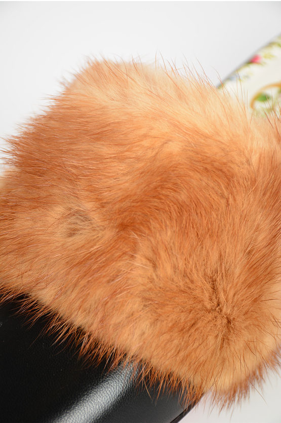 Real Fur MALAGA Sabot  with Jewel Embroidery