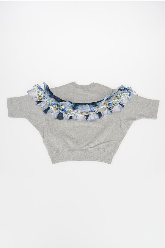 Short Sleeves Sweatshirt with Frill and Lace