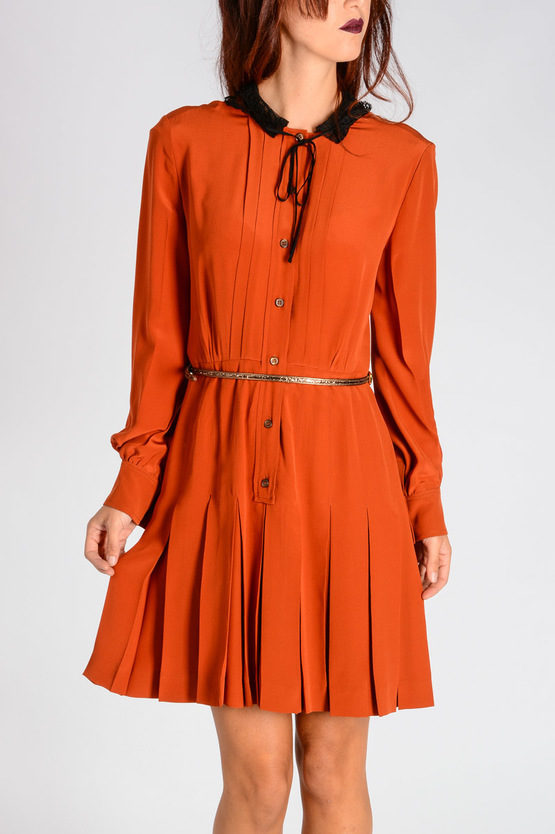 Silk Crepe de Chine Dress with Lace Collar