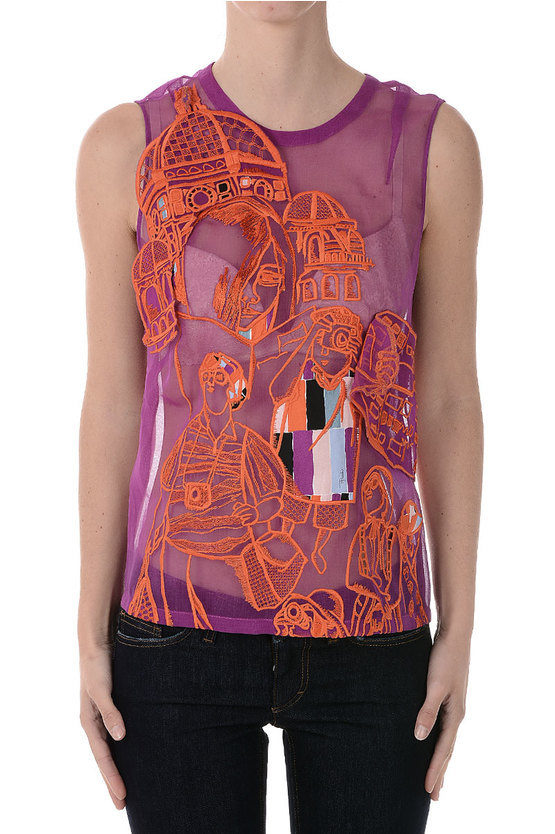 Silk Embroidered Top