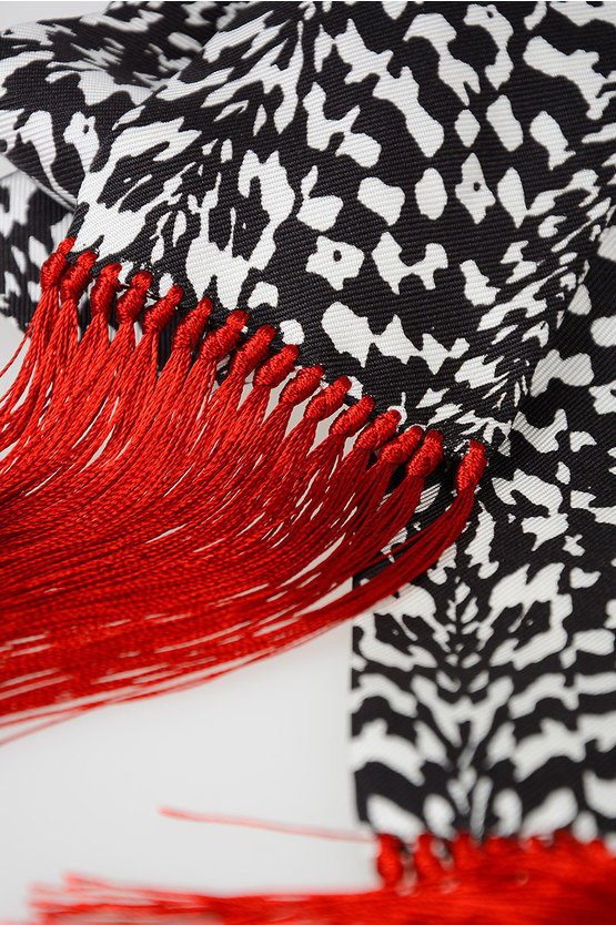 Silk Wool Scarf With Fringes