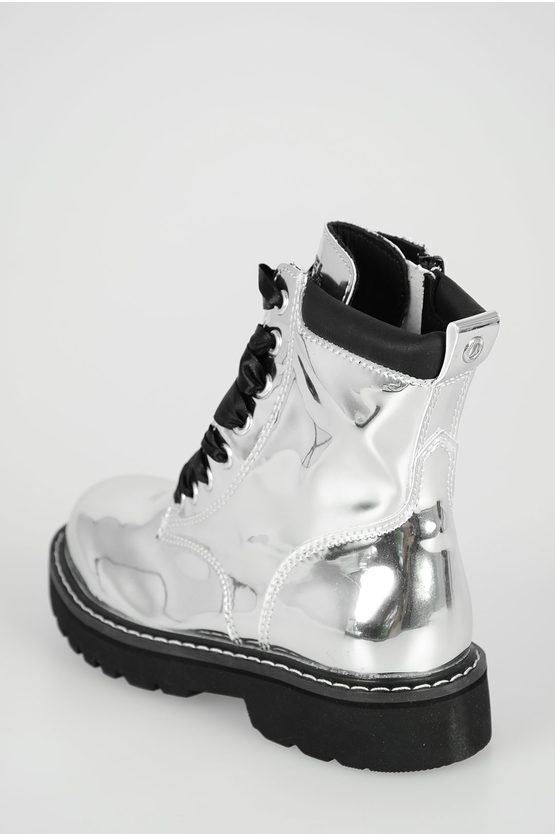 """Silver """"BOOTS"""" LACE UP 15 Ankle Boots"""