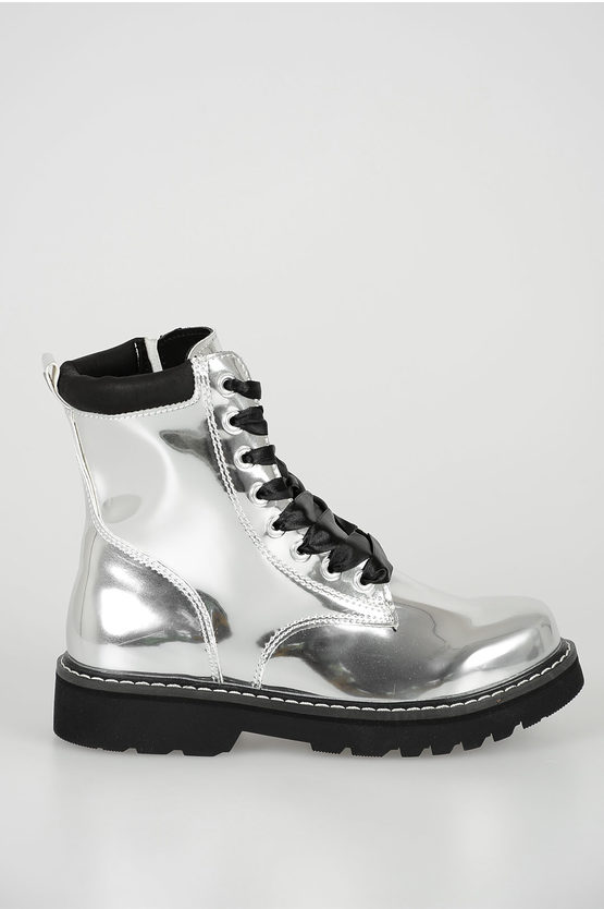 "Silver ""BOOTS"" LACE UP 15 Ankle Boots"