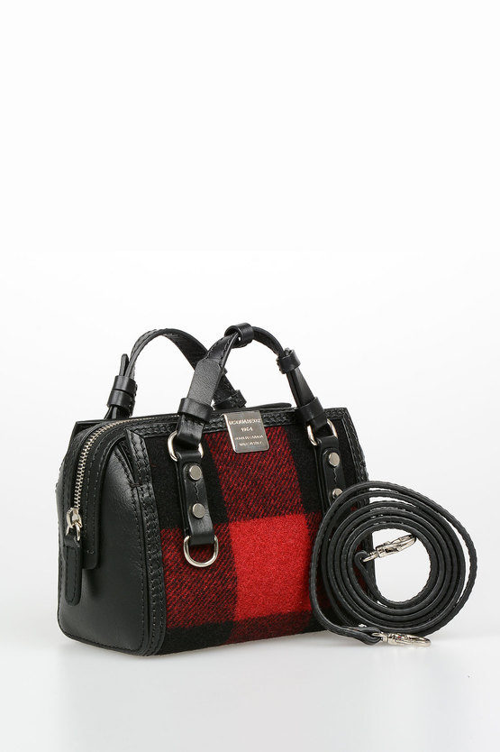 Smal Tartan Wool and Leather QUEBEC Bag