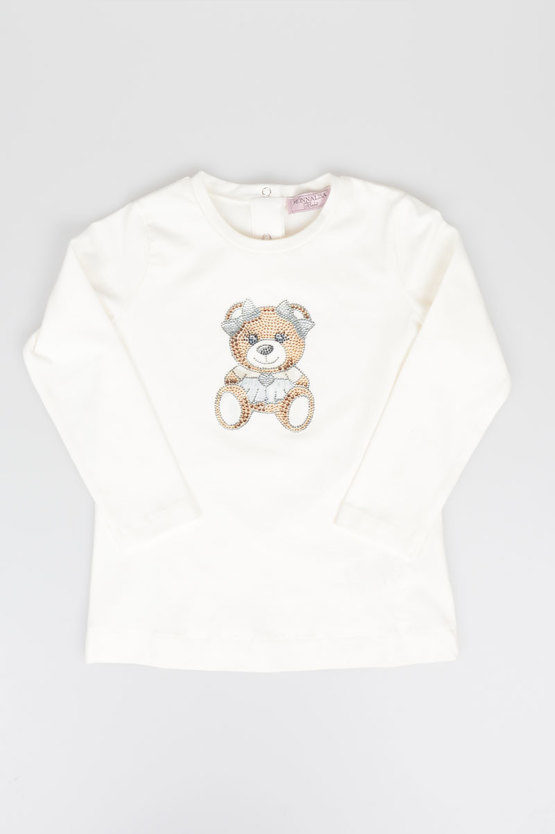 Stretch cotton Rhinestone Teddy bear T-shirt