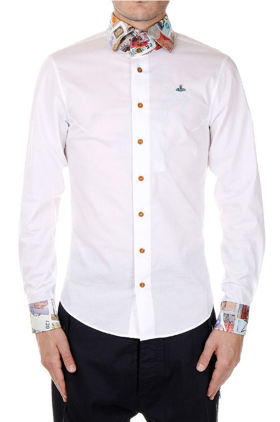 Stretch Cotton Shirt with Banknotes Print