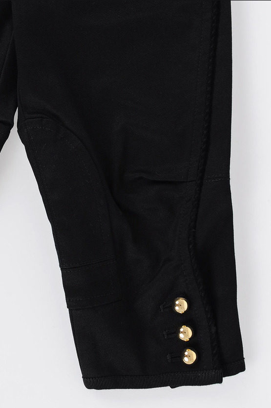 Stretch Cotton Trousers with gold tone Buttons
