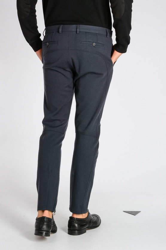 Stretch Wool Blend Biker Trousers