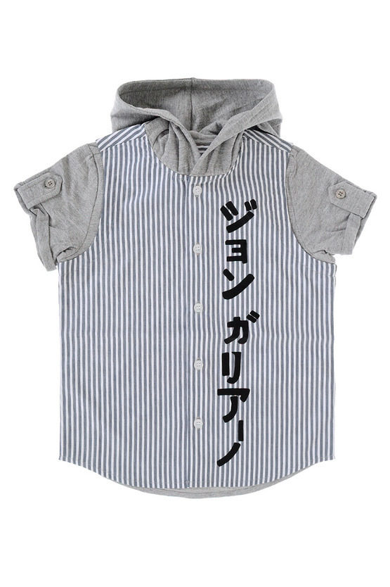 Striped Cotton Shirt With Hood