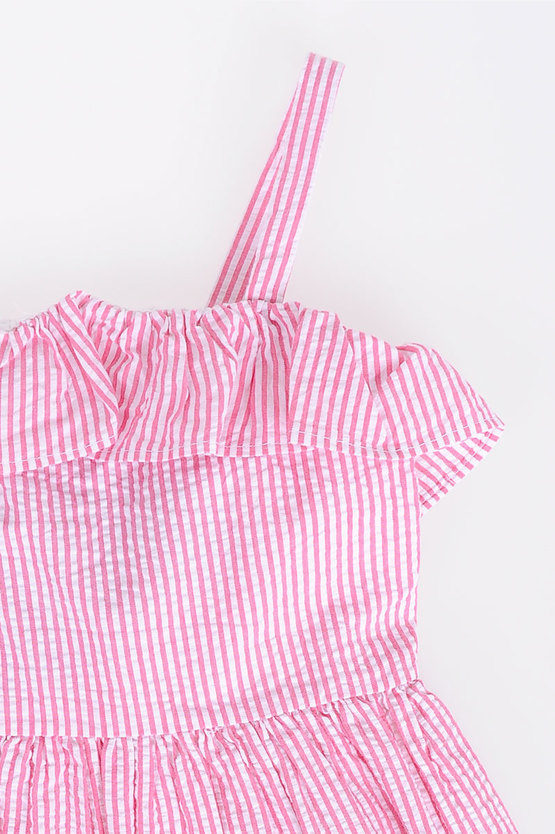 Striped Dress with Frill