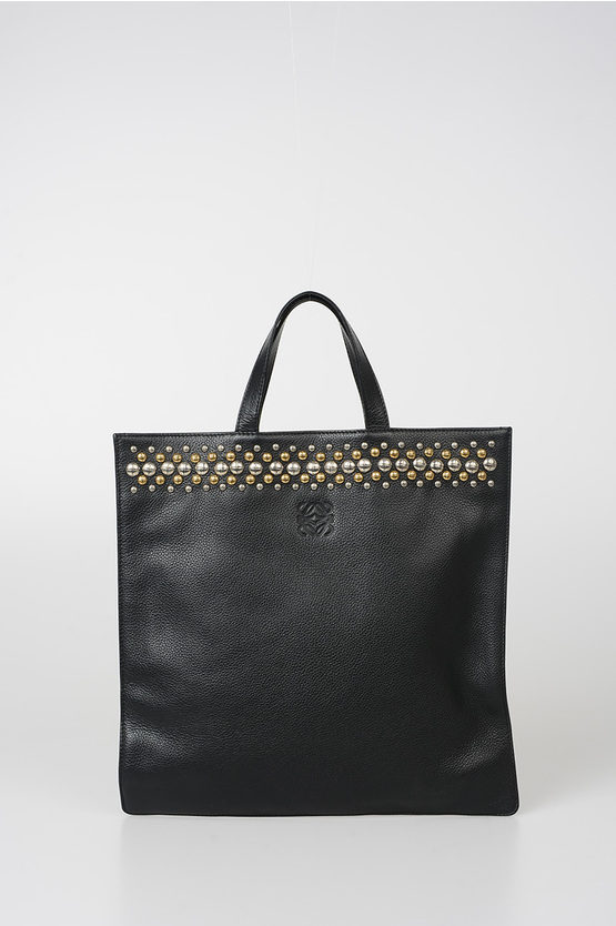 Studded Leather Shopping Bag