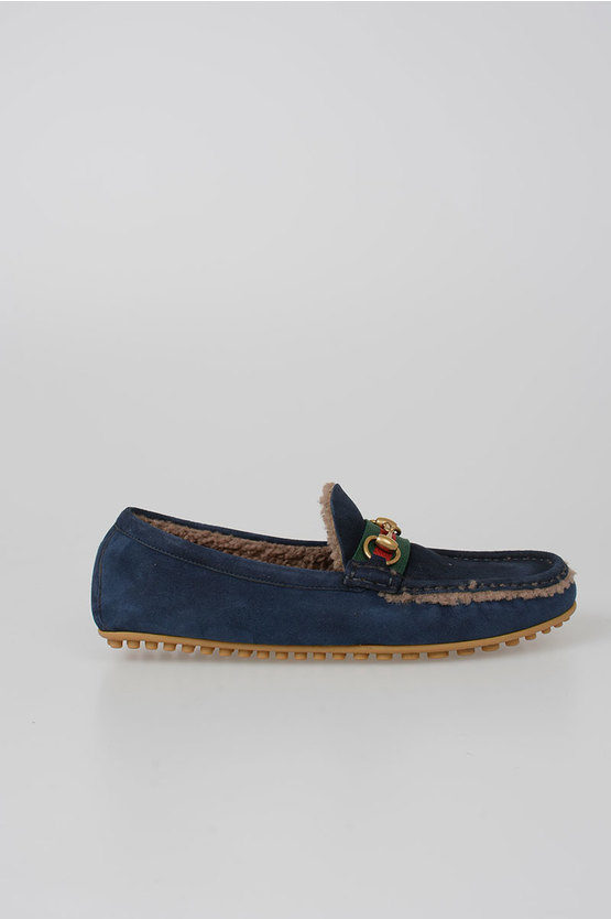 Suede Leather Loafer with Fur