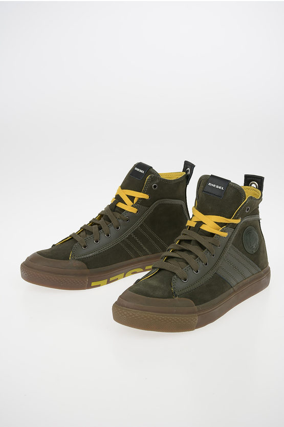 Suede Leather S-ASTICO MC LOGO High-Top Sneakers