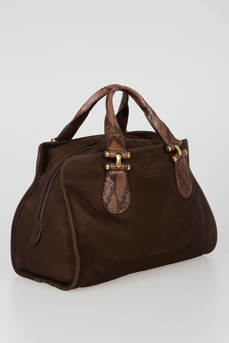 1e7204322214 Gucci Suede Tote Bag with Python Skin Handles women - Glamood Outlet