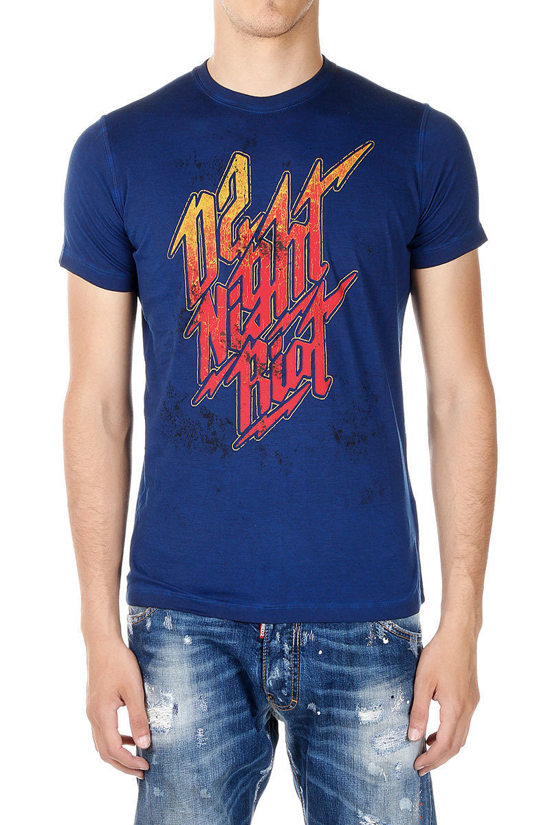 Dsquared2 T-shirt D2 NIGHT RIOT in Jersey uomo - Glamood Outlet 15813d2b74b6
