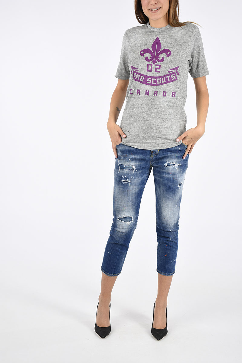Outlet Donna Stampata Shirt Glamood T Dsquared2 Bxwt80qXc