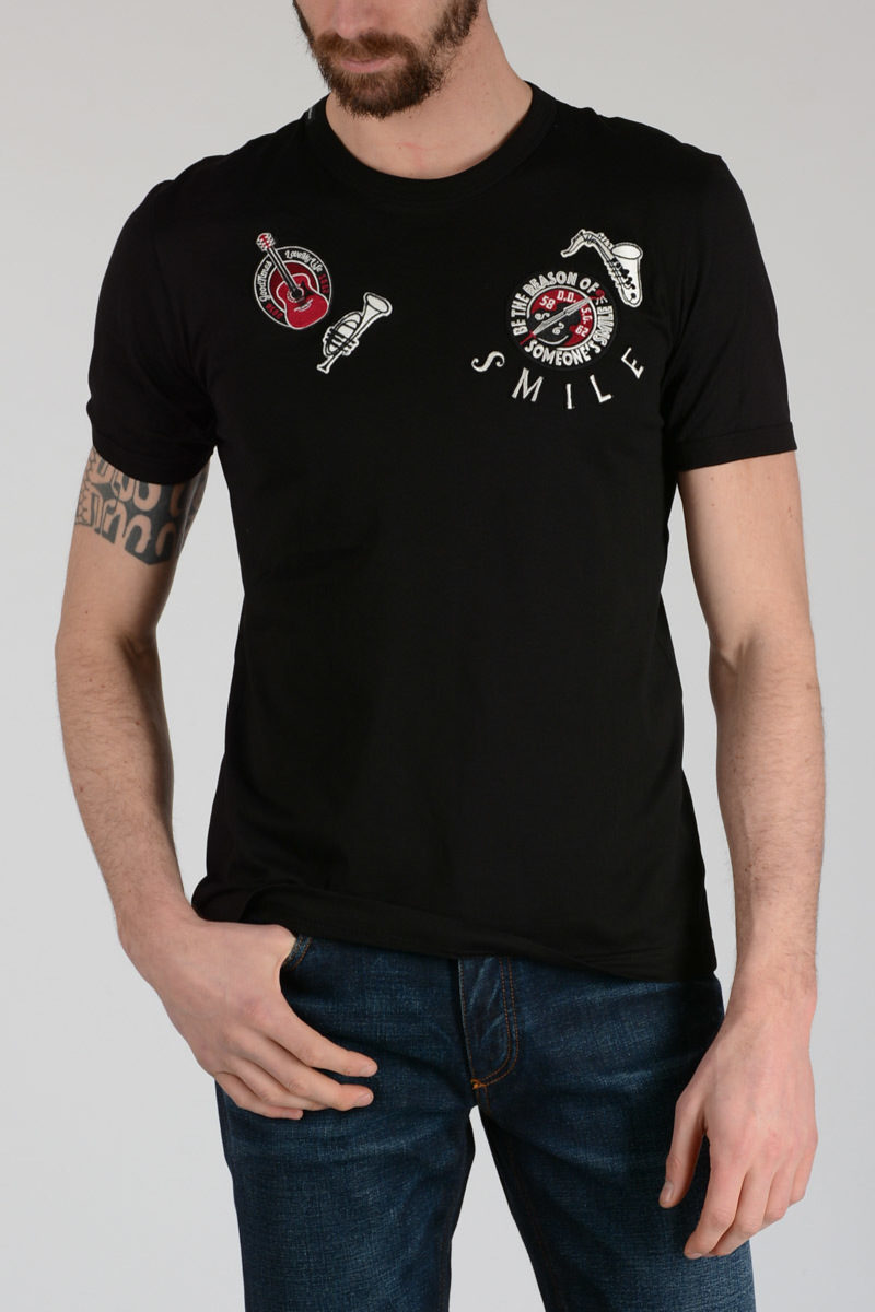 Dolce Gabbana T Shirt With Embroidery Instruments Men Glamood Outlet