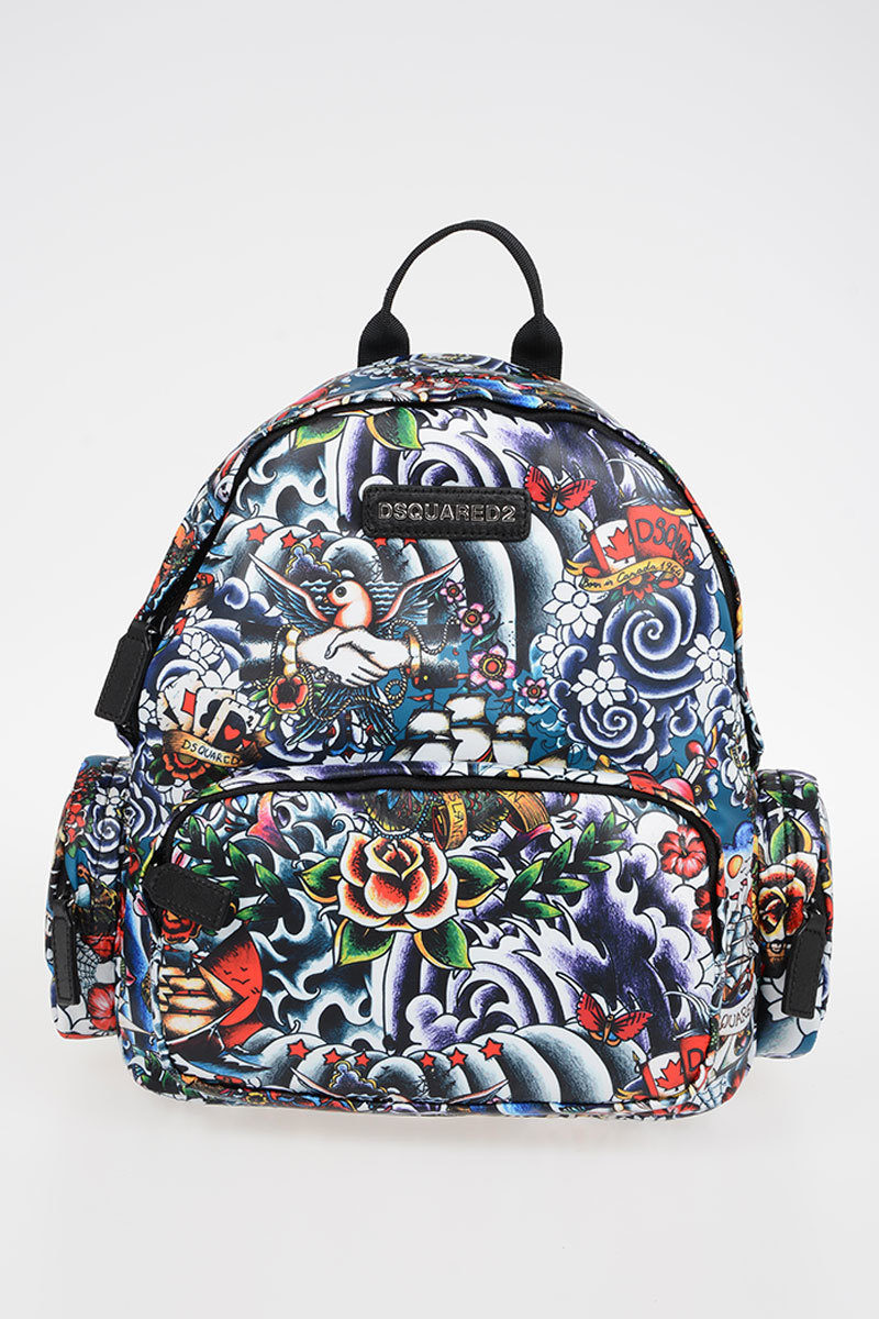 Tattoo Style Printed Fabric Backpack Spring/summer Dsquared2 Kids Rit8f1iM