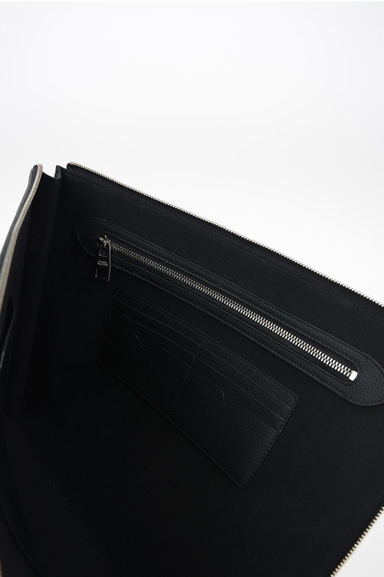 Textured Leather Briefcase with Zip Closure