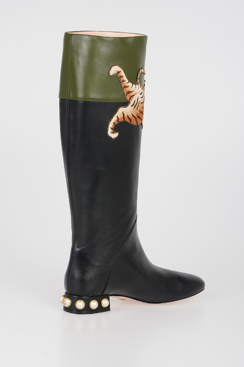 f37f3a4ecd0 Gucci Tiger Embroidered Boots with Pearl women - Glamood Outlet
